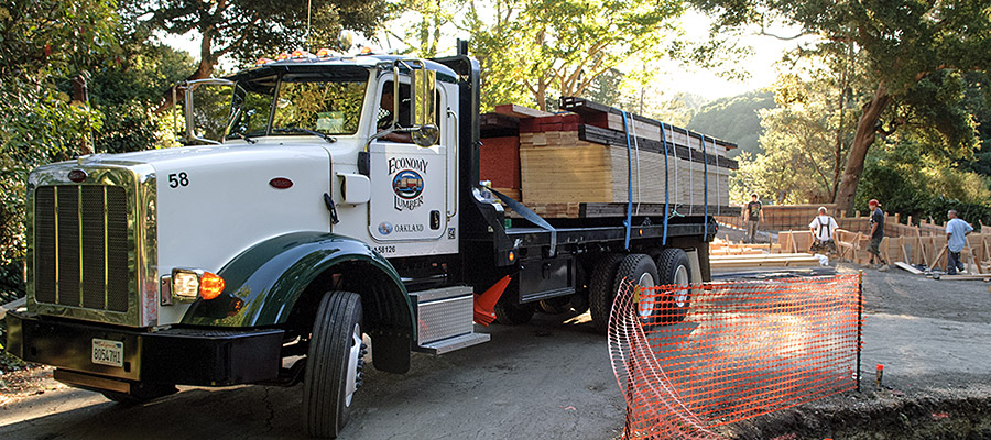 One of Economy Lumber Co. trucks delivering wood to Orinda