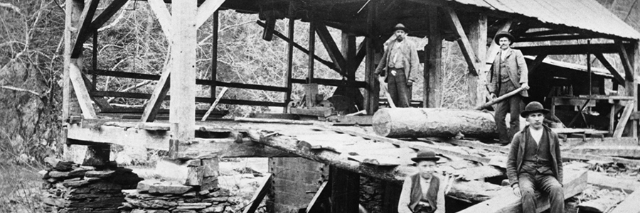 The first sawmill in Oakland, vintage 1880s photograph