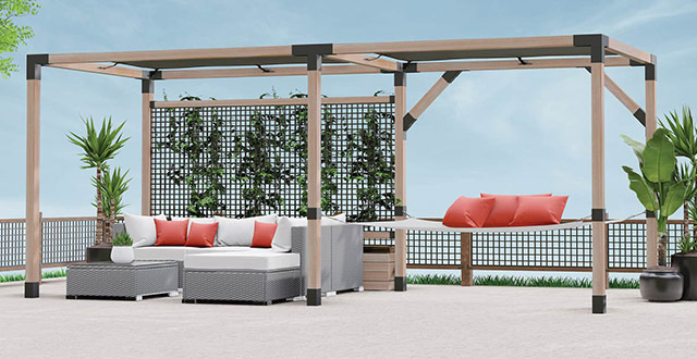 Patio featuring the LINX Simplified Pergolia System and STIX Timbers