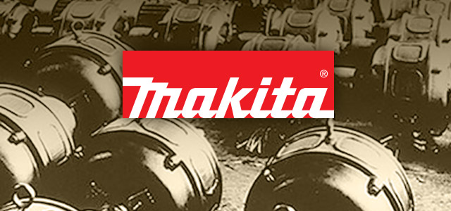 Makita logo with electric motors background
