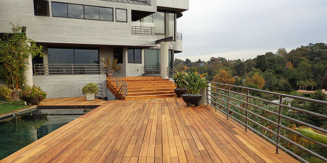Large hardwood deck treated with Messmer's penetrating oil