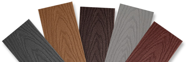 Trex Select deck samples in five colors: Winchester Grey, Saddle, Woodland Brown, Pebble, and Madeira