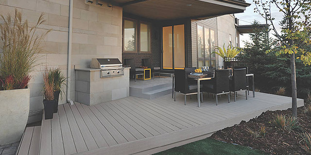 Outdoor patio area featuring Trex Select deck boards in Pebble Grey