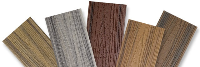 Trex Transcend deck samples in five Tropical colors: Havana Gold, Island Mist, Lava Rock, Tiki Torch and Spiced Rum